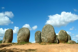set of very old menhirs
